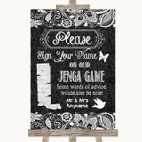 Dark Grey Burlap & Lace Jenga Guest Book Customised Wedding Sign