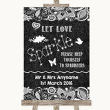 Dark Grey Burlap & Lace Let Love Sparkle Sparkler Send Off Wedding Sign