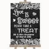 Dark Grey Burlap & Lace Love Is Sweet Take A Treat Candy Buffet Wedding Sign