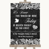 Dark Grey Burlap & Lace Loved Ones In Heaven Customised Wedding Sign