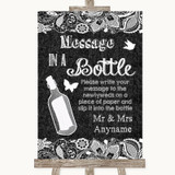Dark Grey Burlap & Lace Message In A Bottle Customised Wedding Sign