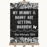Dark Grey Burlap & Lace Mummy Daddy Getting Married Customised Wedding Sign