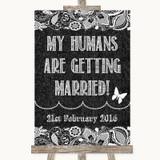 Dark Grey Burlap & Lace My Humans Are Getting Married Customised Wedding Sign