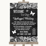 Dark Grey Burlap & Lace No Phone Camera Unplugged Customised Wedding Sign