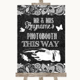 Dark Grey Burlap & Lace Photobooth This Way Left Customised Wedding Sign