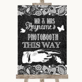 Dark Grey Burlap & Lace Photobooth This Way Right Customised Wedding Sign