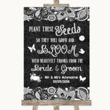 Dark Grey Burlap & Lace Plant Seeds Favours Customised Wedding Sign