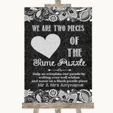 Dark Grey Burlap & Lace Puzzle Piece Guest Book Customised Wedding Sign