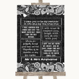 Dark Grey Burlap & Lace Romantic Vows Customised Wedding Sign