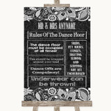 Dark Grey Burlap & Lace Rules Of The Dance Floor Customised Wedding Sign