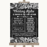 Dark Grey Burlap & Lace Rules Of The Wedding Customised Wedding Sign