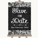 Dark Grey Burlap & Lace Save The Date Customised Wedding Sign