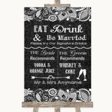 Dark Grey Burlap & Lace Signature Favourite Drinks Customised Wedding Sign