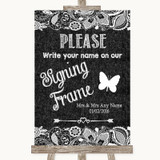 Dark Grey Burlap & Lace Signing Frame Guestbook Customised Wedding Sign