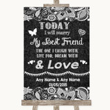 Dark Grey Burlap & Lace Today I Marry My Best Friend Customised Wedding Sign