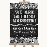 Dark Grey Burlap & Lace We Are Getting Married Customised Wedding Sign