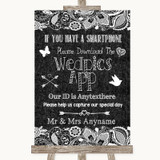 Dark Grey Burlap & Lace Wedpics App Photos Customised Wedding Sign