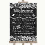 Dark Grey Burlap & Lace Welcome Order Of The Day Customised Wedding Sign
