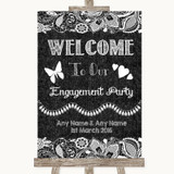 Dark Grey Burlap & Lace Welcome To Our Engagement Party Wedding Sign