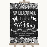 Dark Grey Burlap & Lace Welcome To Our Wedding Customised Wedding Sign