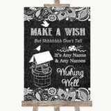 Dark Grey Burlap & Lace Wishing Well Message Customised Wedding Sign