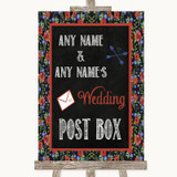 Floral Chalk Card Post Box Customised Wedding Sign