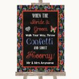 Floral Chalk Confetti Customised Wedding Sign