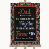 Floral Chalk Dad Walk Down The Aisle Customised Wedding Sign
