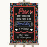 Floral Chalk Don't Post Photos Online Social Media Customised Wedding Sign