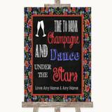 Floral Chalk Drink Champagne Dance Stars Customised Wedding Sign