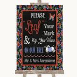 Floral Chalk Fingerprint Tree Instructions Customised Wedding Sign