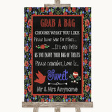 Floral Chalk Grab A Bag Candy Buffet Cart Sweets Customised Wedding Sign