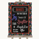 Floral Chalk Hankies And Tissues Customised Wedding Sign