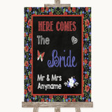 Floral Chalk Here Comes Bride Aisle Sign Customised Wedding Sign