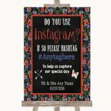 Floral Chalk Instagram Photo Sharing Customised Wedding Sign