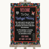 Floral Chalk No Phone Camera Unplugged Customised Wedding Sign