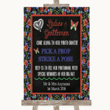 Floral Chalk Pick A Prop Photobooth Customised Wedding Sign