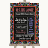 Floral Chalk Rules Of The Dance Floor Customised Wedding Sign