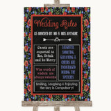 Floral Chalk Rules Of The Wedding Customised Wedding Sign