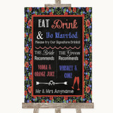 Floral Chalk Signature Favourite Drinks Customised Wedding Sign