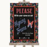 Floral Chalk Signing Frame Guestbook Customised Wedding Sign