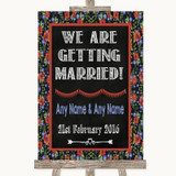 Floral Chalk We Are Getting Married Customised Wedding Sign