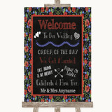 Floral Chalk Welcome Order Of The Day Customised Wedding Sign