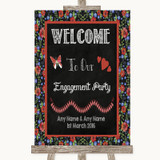 Floral Chalk Welcome To Our Engagement Party Customised Wedding Sign