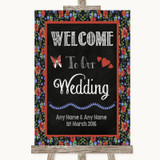 Floral Chalk Welcome To Our Wedding Customised Wedding Sign