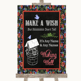 Floral Chalk Wishing Well Message Customised Wedding Sign