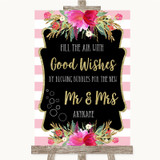 Gold & Pink Stripes Blow Bubbles Customised Wedding Sign