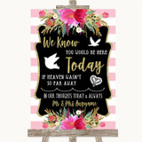 Gold & Pink Stripes Loved Ones In Heaven Customised Wedding Sign