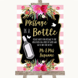 Gold & Pink Stripes Message In A Bottle Customised Wedding Sign