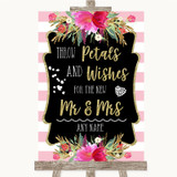 Gold & Pink Stripes Petals Wishes Confetti Customised Wedding Sign